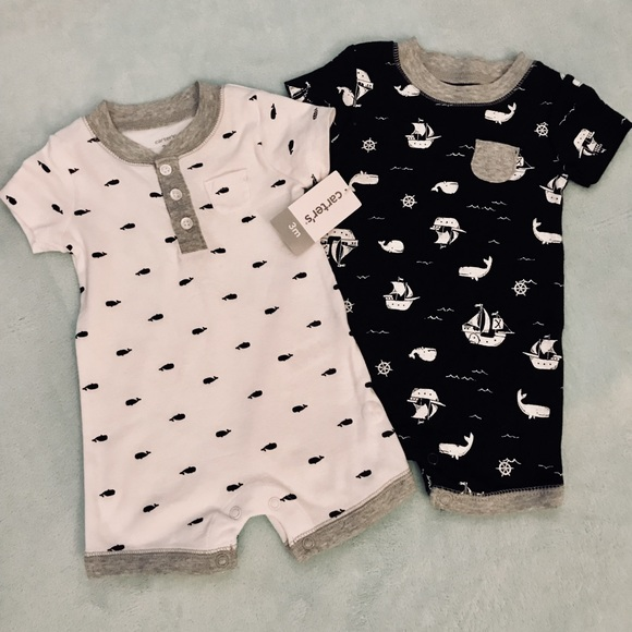 23576e42d Carters 3 mo boys 2pc pirate and whale rompers